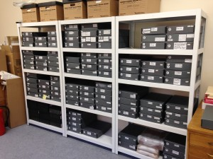 The bulk of the archives are stored in grey archive-standard boxes